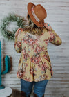 Mustard Floral Babydoll Long Sleeve Top on blonde model with accessories