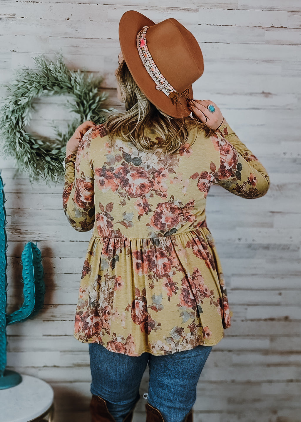 Mustard Floral Baby Doll Ruffle Sleeve Top