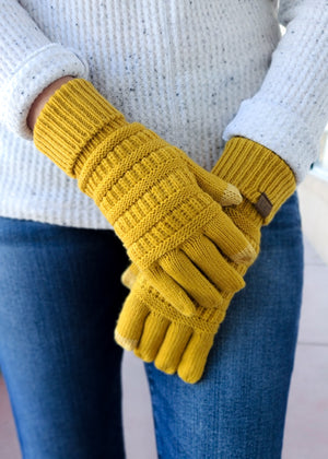 Mustard Knit Gloves on model