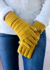mustard knit gloves