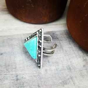 Natural Stone Turquoise Triangle Rhinestone Ring