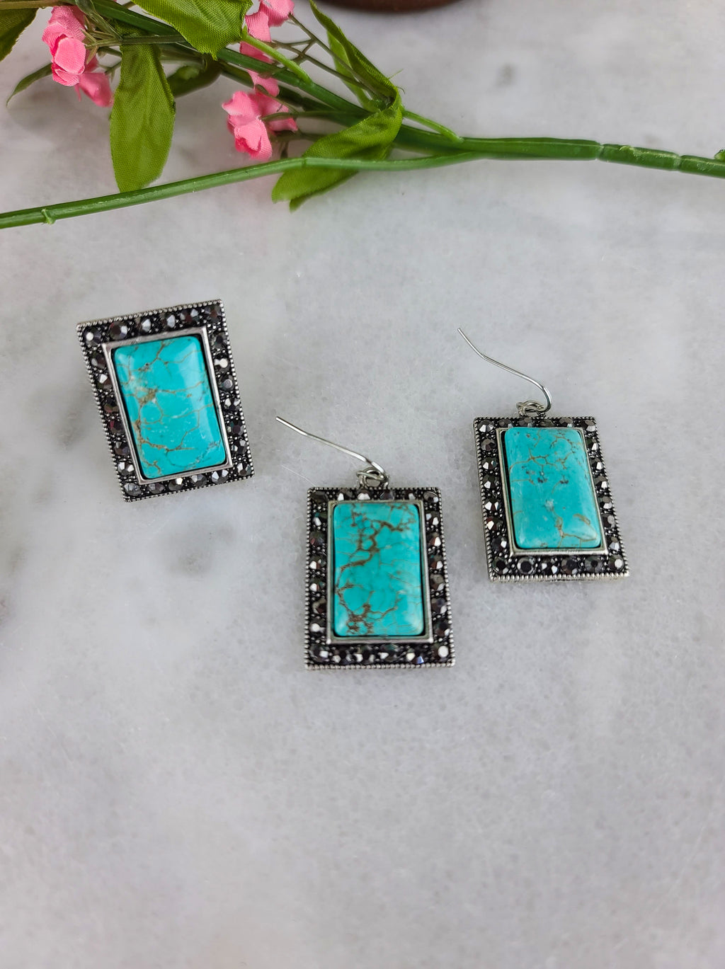 Natural Stone Turquoise Rhinestone Earrings & Ring Set
