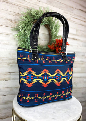 Navy Aztec Canvas Tote Handbag
