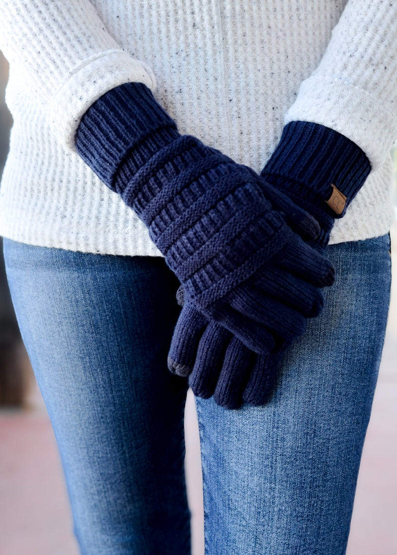 Navy Knit Gloves on model