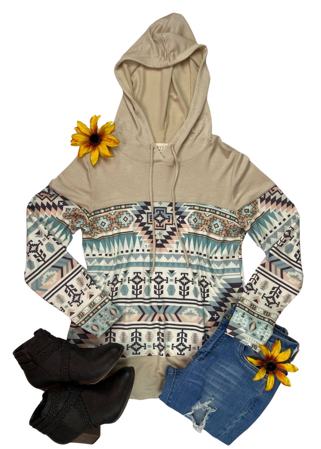 Oatmeal Aztec Hoodie Long Sleeve Top on white background