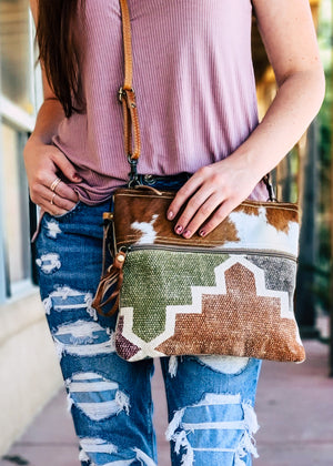 Pastel Hair-On Cowhide Crossbody Handbag with model