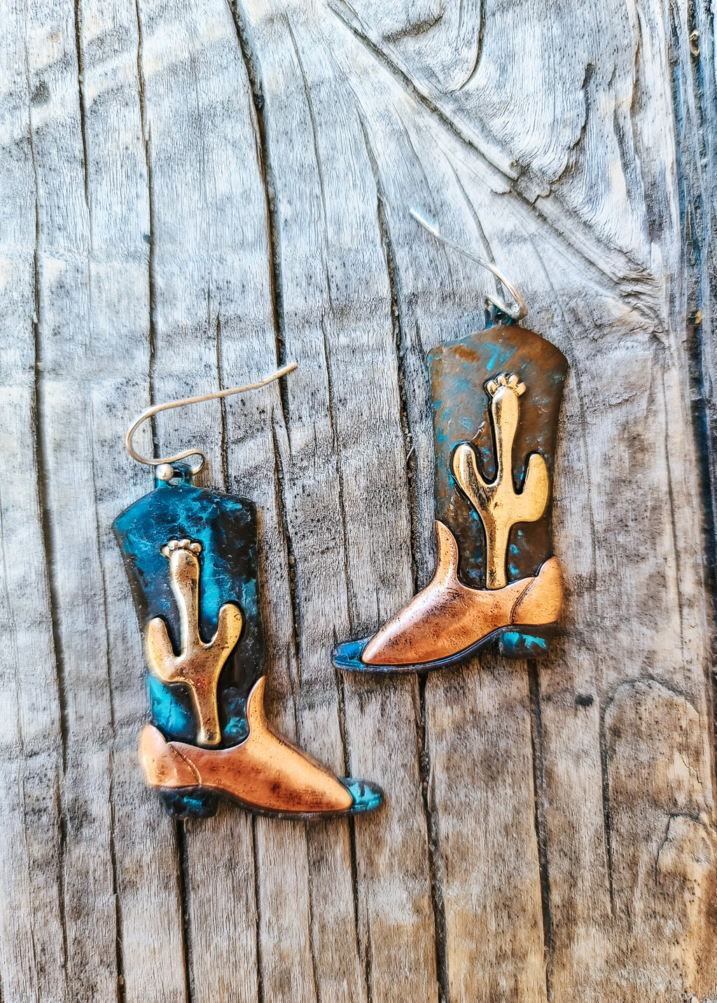 Patina Cactus Cowboy Boot Earrings