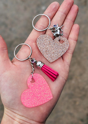 Pink & Champagne Heart (Set of 2) Keychain