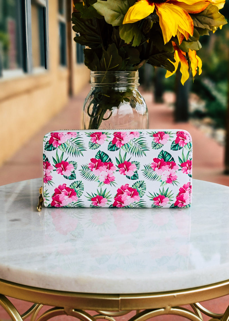 Pink & White Floral Tropical Wallet shot outside