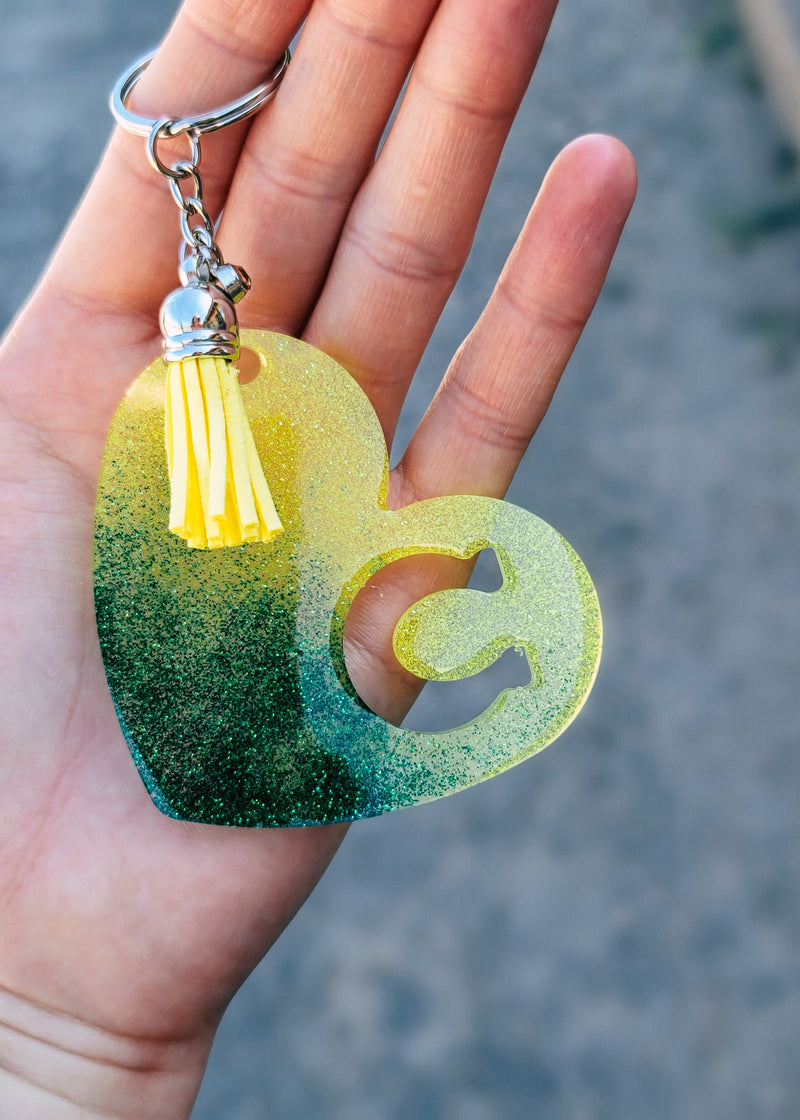 Green & Yellow Horseshoe Heart Keychain