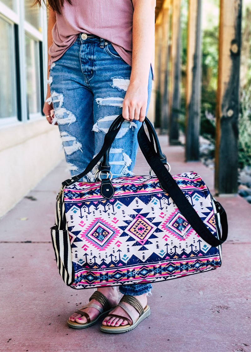 Pink Multi Color Aztec Canvas Weekender Bag with model