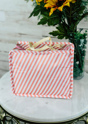 Pink Stripe Insulated Lunch Box/Cooler