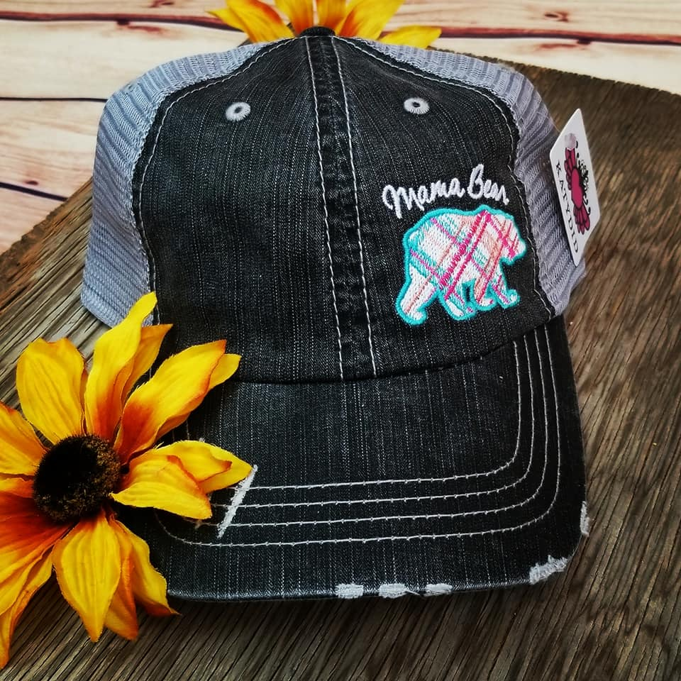 Colorful Plaid Mama Bear Trucker Hat