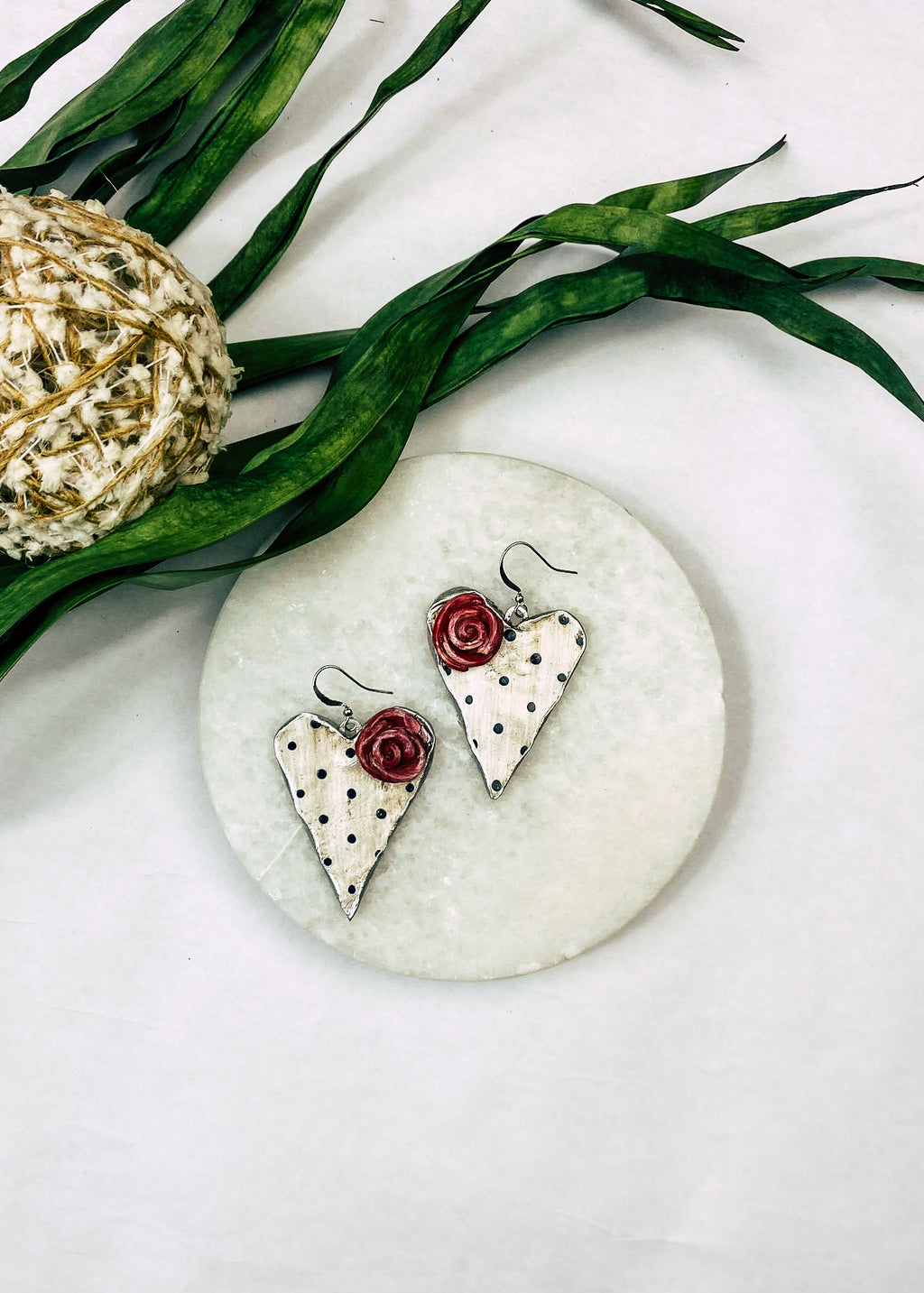 Polka Dot Heart Earrings