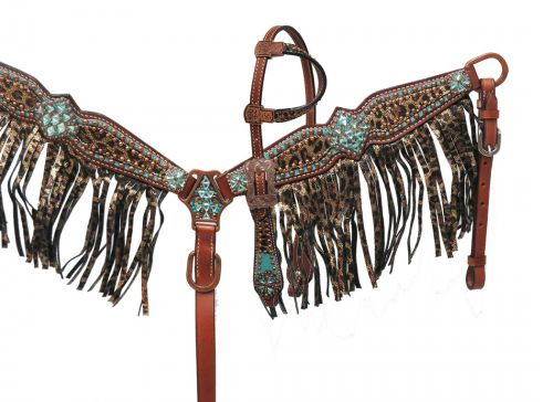 PONY Leopard Fringe Headstall Set