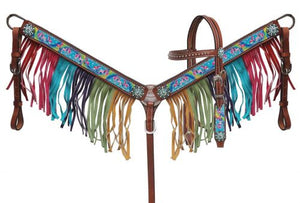 PONY Rainbow Fringe Headstall Set