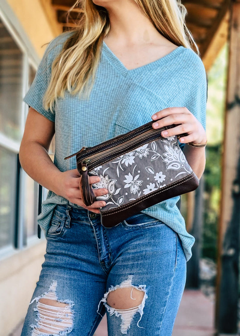 Pretty Petals Pouch/Wristlet on model