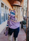 Dusty Lavender Aztec Cowl Neck Top
