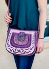 Purple Concho Crossbody Handbag on model