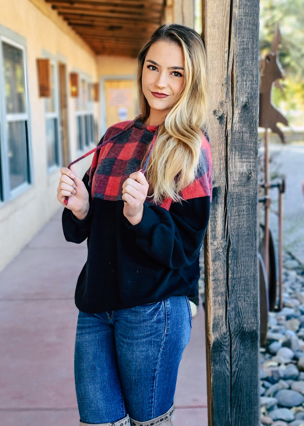 Red & Black Plaid Hoodie on blonde model