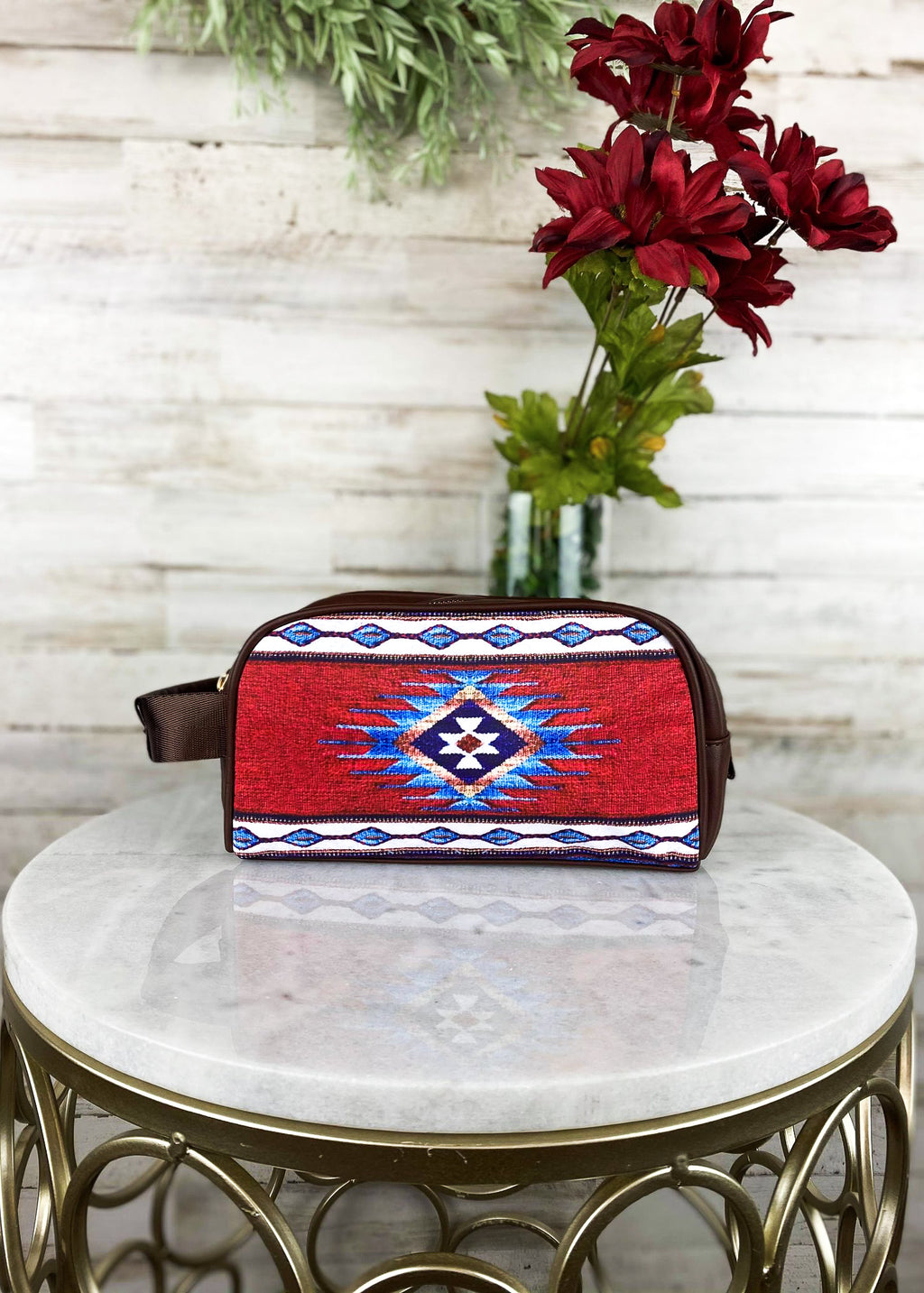 Brown & Red Aztec Cosmetic Travel Case