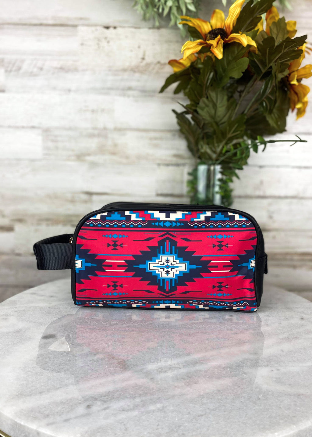 Red Aztec Cosmetic Travel Case
