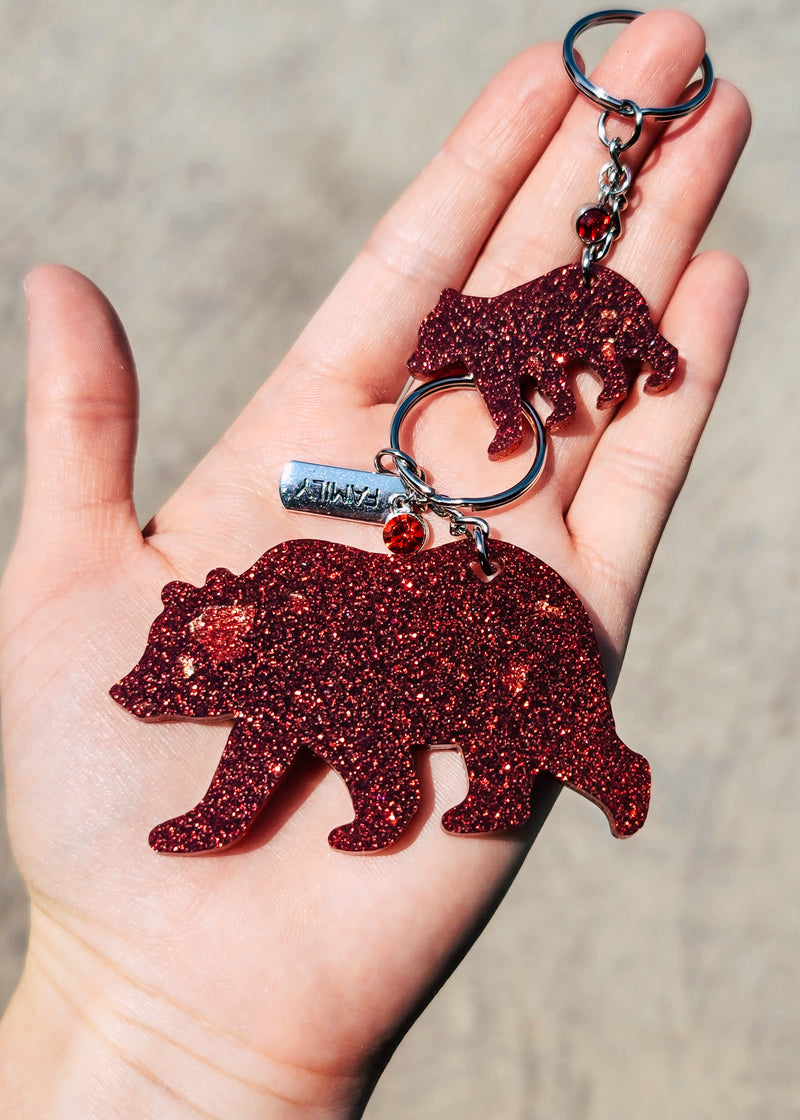 Red & Gold Flakes Bear & Baby Keychain