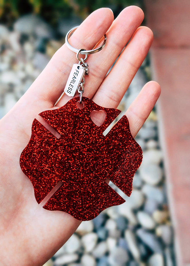 Red Firefighter Fearless Keychain