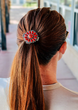 Red Concho Stone Hair Tie