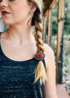 Red Natural Stone Hair Tie