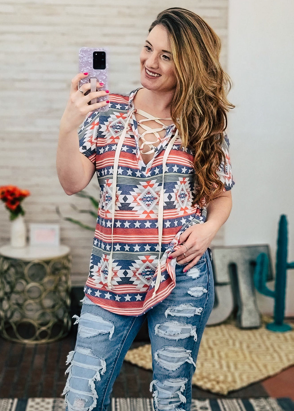Red, White & Blue Aztec Tie Short Sleeve Top