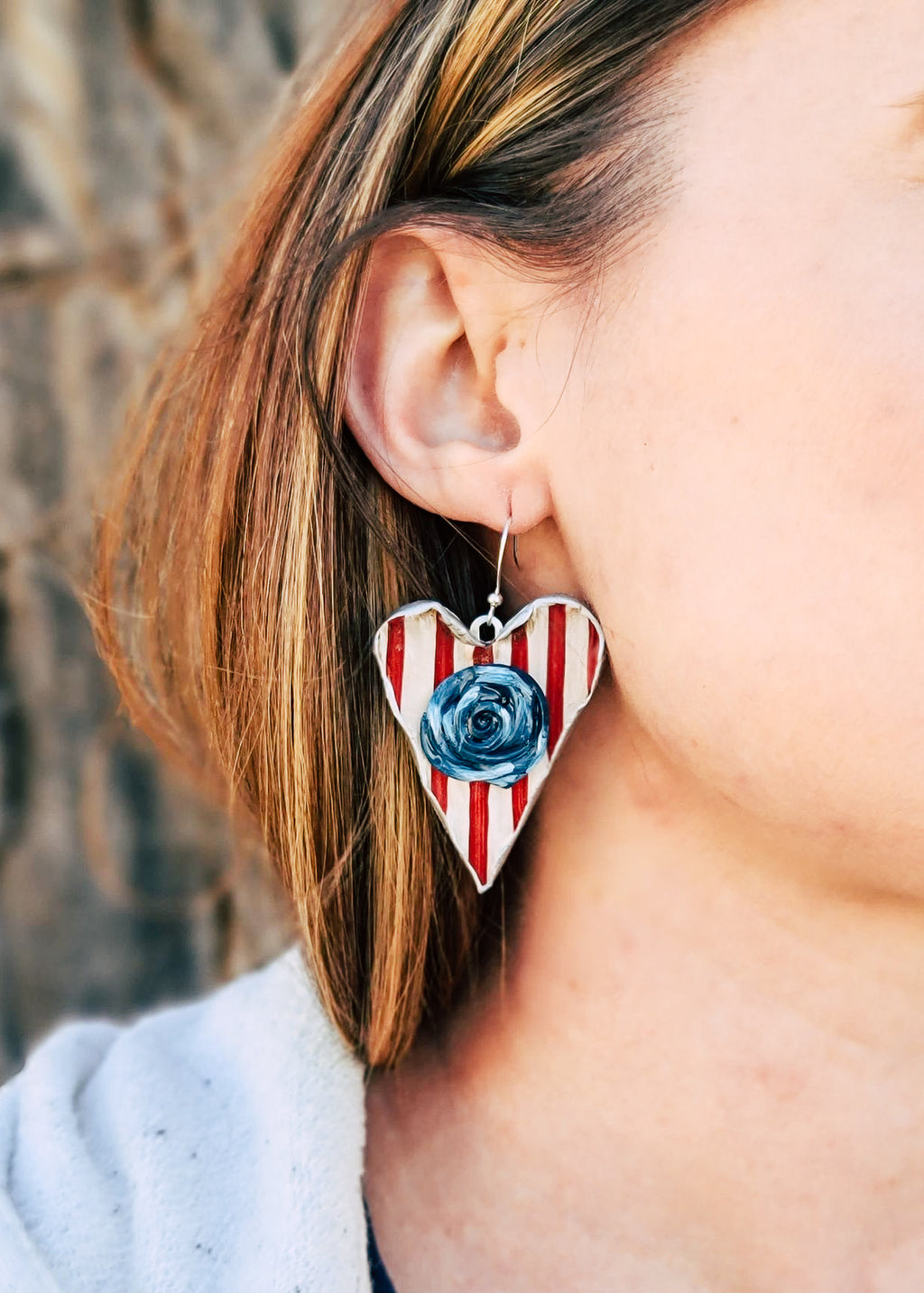 Red, White & Blue Heart Earrings