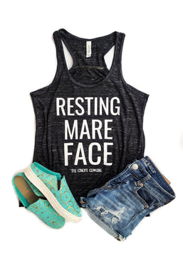 Marble Black Resting Mare Face Tank Top