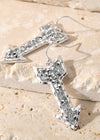 Silver Rhinestone Arrow Earrings