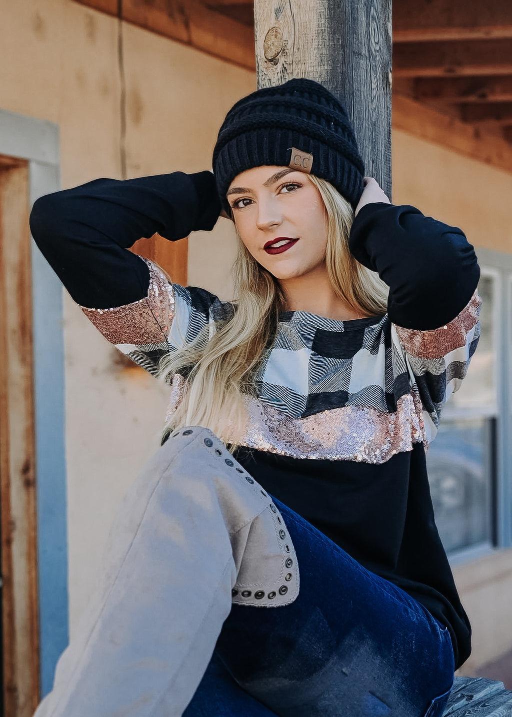 Black Checkered & Sequin Long Sleeve Top