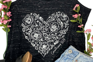 Corinthians 16:14 Rose Heart Marble Black Graphic Tank Top