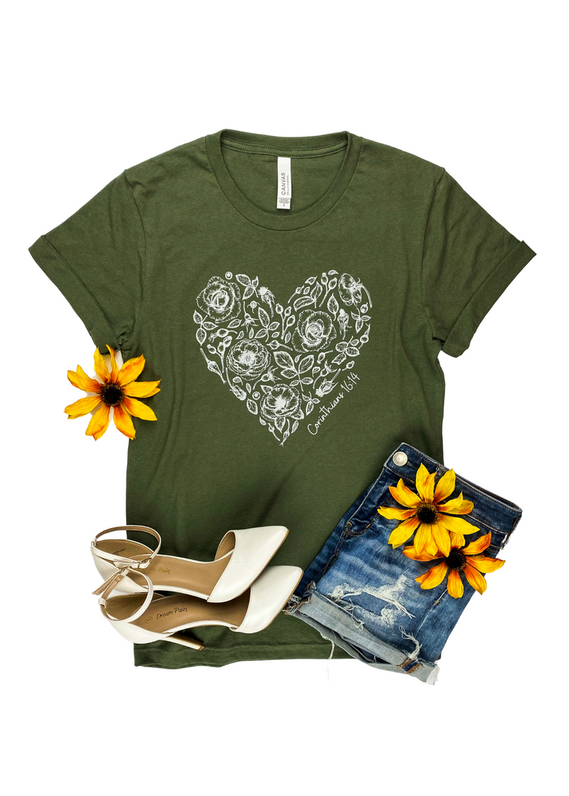 Corinthians 16:14 Rose Heart Army Green Short Sleeve Graphic Tee