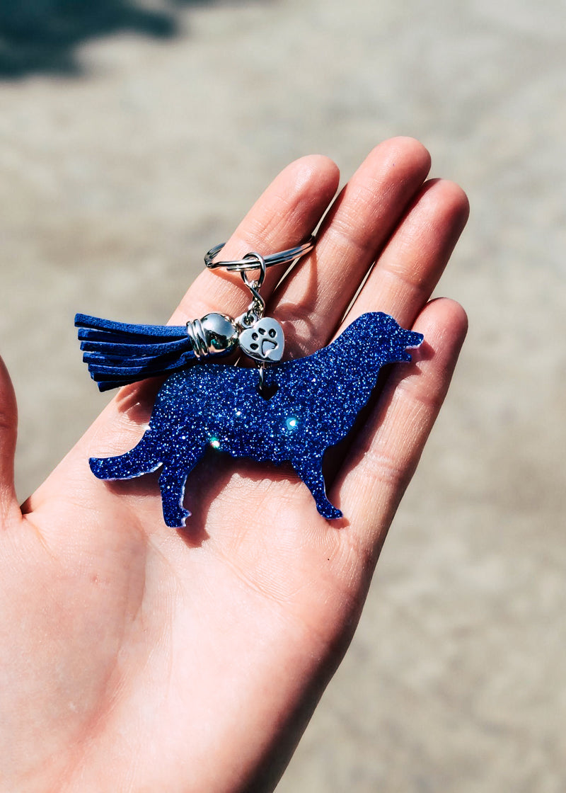 Royal Blue Retriever Keychain