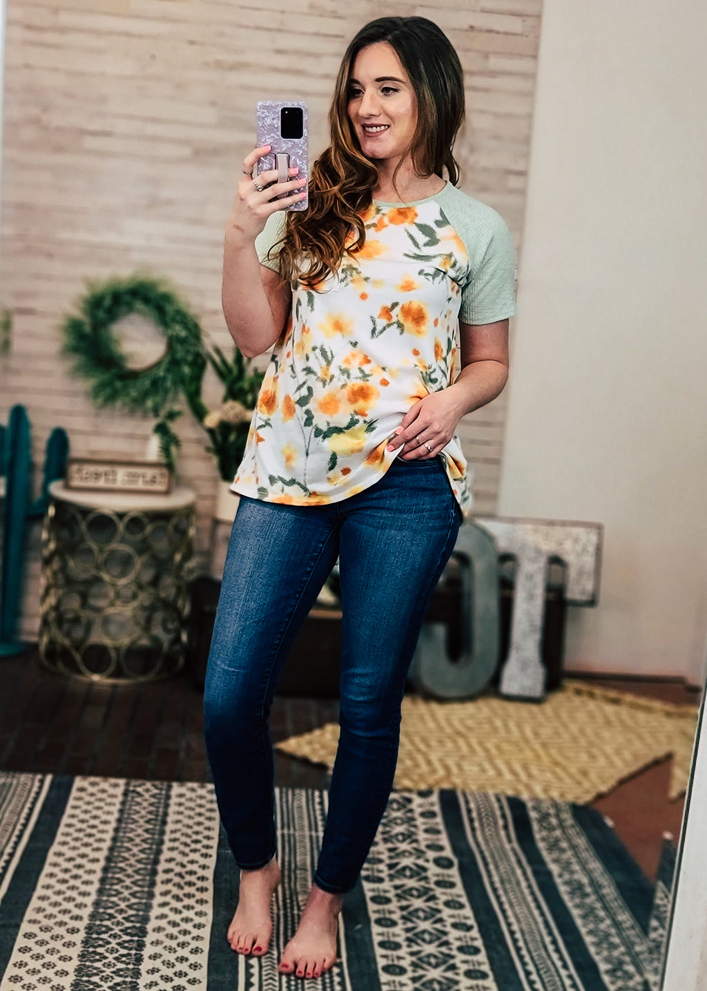 Sage Floral Short Sleeve Top