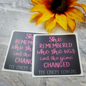 She Remembered Stickers- 2 Pack