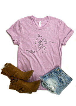 She is Strong Horse Lilac Short Sleeve Graphic Tee