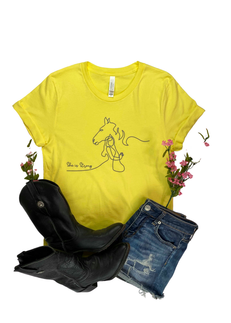 SMALL She is Strong Horse Yellow Short Sleeve Graphic Tee