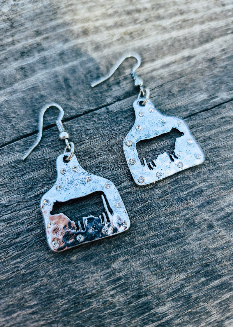 Silver Cattle Tag Cutout Earrings