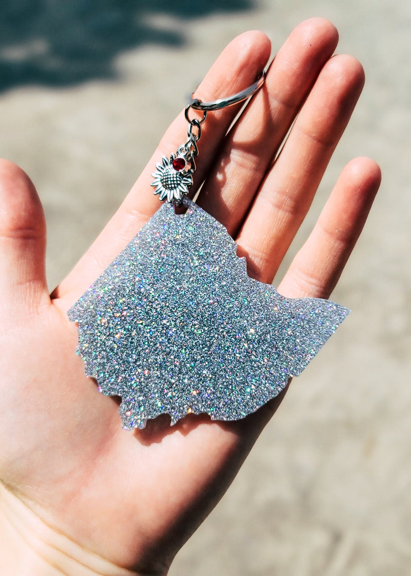 Holographic Silver Ohio Keychain