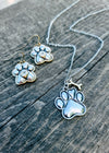 Silver Paw Print Necklace & Earrings Set