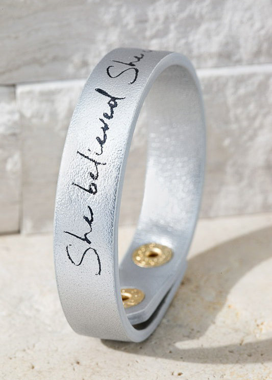 Silver She Believed She Could Bracelet