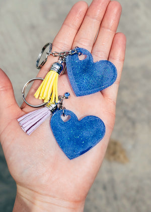 Small Blue Heart (Set of 2) Keychain