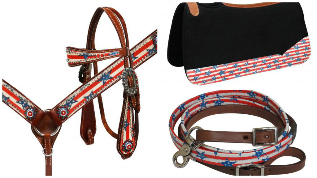 Stars N Stripes Matching Complete Headstall Set