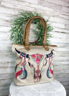 Steer Skull Canvas Tote Handbag