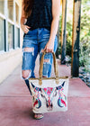 Steer Skull Canvas Tote Handbag with model
